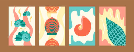 Illustration set for marine concept in creative style. Seashore images set in pastel colors. Cute seashells on gentle background. Can be used for banners, website designs Vetores