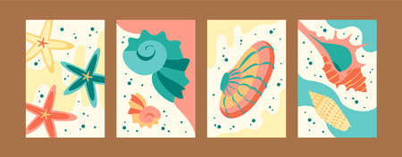 Bright marine collection of contemporary art posters. Sea world illustration set in pastel colors. Cute seashells and starfish on gentle background. Sea life concept for banners, website design