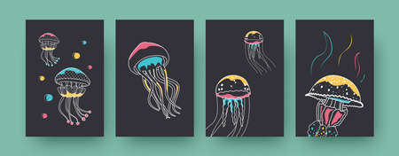 Set of contemporary art posters with various jellyfishes. Colorful medusas swimming pastel vector illustrations. Marine fauna, aquarium concept for designs, social media, postcards, invitation cards 向量圖像