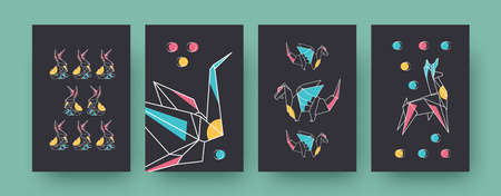 Set of contemporary art posters with hares and dragons. Paper animals, crane, llama vector illustrations in pastel colors. Origami, hobby concept for designs, social media, postcards, invitation cards 向量圖像