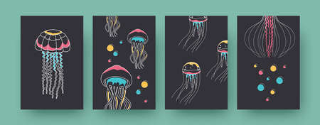 Set of contemporary art posters with jellyfish. Medusas and tentacles vector illustrations in pastel colors. Marine fauna, wildlife concept for designs, social media, postcards, invitation cards