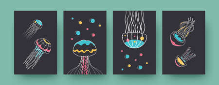 Collection of contemporary art posters with cute medusas. Small marine creatures with tentacles vector illustrations in pastel colors. Aquarium, wildlife concept for designs, social media, postcards