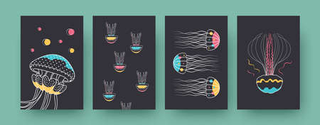 Collection of contemporary art posters with groups of medusas. Jellyfishes swimming together vector illustrations in pastel colors. Marine fauna, wildlife concept for designs, social media, postcards