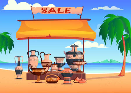 Ceramic jugs with ornament in sand of desert. Antique crockery flat vector illustration. Cartoon pyramids, palm tree in background. Pottery, wasteland, digging concept