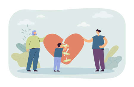 Divorced family getting back together. Man and woman holding pieces of broken heart, little boy trying to tape it with band-aids. Family reunion concept for banner, website design or landing web page