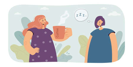 Sleepy woman having need of coffee vector illustration. Female characters offering coffee to her tired friend. Sleep deprivation concept for banner, website or landing page Vector Illustration