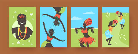 Set of contemporary art posters with African dancing people. Vector illustration. .Colorful collection of Africans wearing ethnic clothes, dancing in colored background. Africa, dance, culture concept