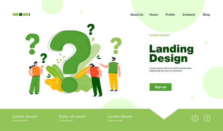 Pensive people asking frequently asked questions isolated flat vector illustration. Cartoon tiny characters standing near huge question mark. Help and communication concept