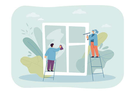 Tiny cleaners in uniform washing huge window. Man and woman working together flat vector illustration. Cleaning service, housework, hygiene concept for banner, website design or landing web page
