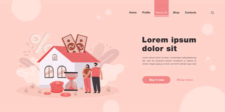 People buying home with mortgage loan flat vector illustration. Young couple paying credit to bank for being owners of private house property. Mortgage and rent concept for landing page or design Vetores