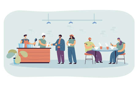 Cartoon homeless people eating food at refectory. Volunteers helping refugees in shelter at night flat vector illustration. Charity, poverty concept for banner, website design or landing web page Vektorgrafik
