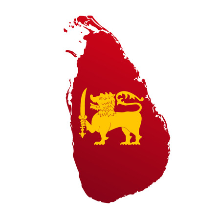 vector outline of Sri Lanka with the arms Иллюстрация