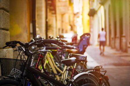 Image of bicycles on a narrow Italian street