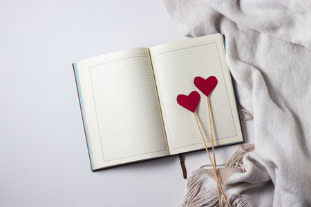Two Heart on sticks, Scarf and Diary on a white background. Copy space. Flat lay, top view.