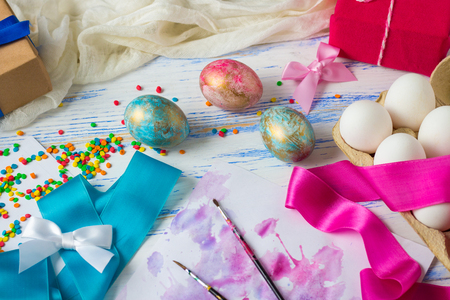 Easter Eggs And The Egg Coloring Process Before The Feast. Tapes ...