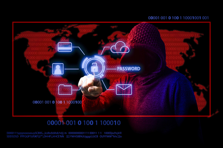 Faceless man in a hood touches on a hologram with an open lock and access personal data, credit card, e-mail, etc. Image is made in Red Blue tones.