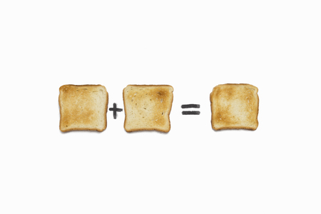 One Slice of Toast plus One Slice of Toast is One Slice of Toast. On a white background