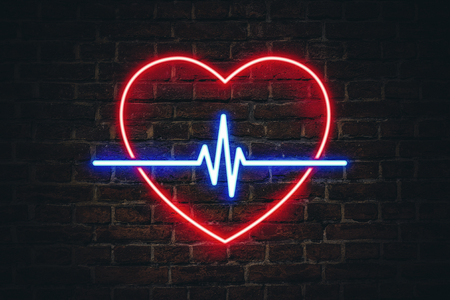 Glowing neon sign in the shape of a heart and heart lines on background ceramic wall. The concept of site advertising signs and Hospital Pharmacies. Foto de archivo