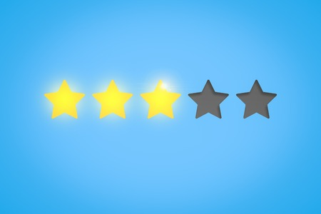 Yellow stars show a rating of three stars on a blue background. Concept of evaluating something.