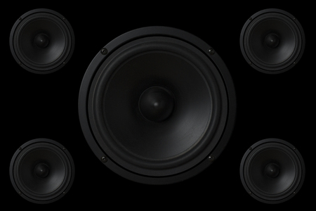 Black Music speaker on a black isolated background. Party or music listening concept