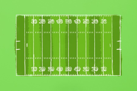 Image of a football field on a green cardboard. Tactics of the game. The concept of the game of American football. Flat lay, top view