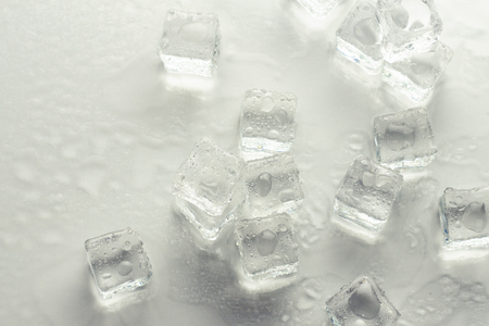 Ice cubes on a white background. Cooling Concept, Food Ice