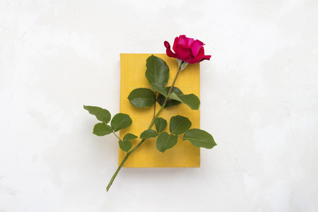 Red rose on a book with a yellow cover on a light stone background. The concept of romantic literature. Flat lay, top view.