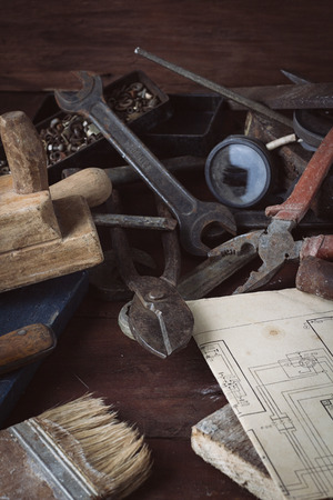 Vintage old tool on the old wooden table. Concept Workshop. Fathers Day.