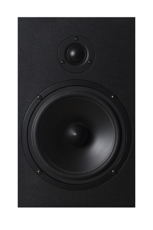 Black Musical speaker on white isolated background. Party or music listening concept