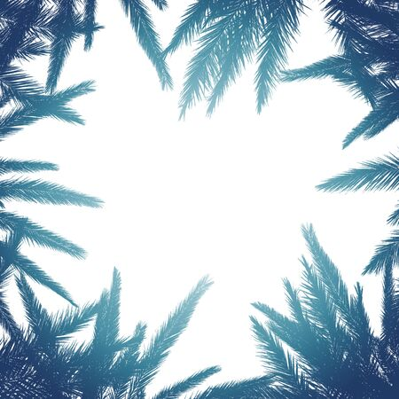Silhouette of palm leaves with a bright summer gradient on a light background. Concept tropic, vacation and travel. Abstraction.