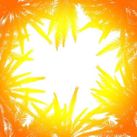Silhouette of palm leaves with a bright summer gradient on a light background. Concept tropic, vacation and travel. Abstraction. Stock fotó