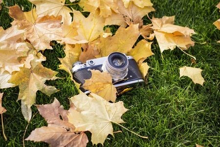 Retro camera on the lawn with yellow autumn leaves. Concept of beginning of the autumn and the beginning of the fall of leaves.
