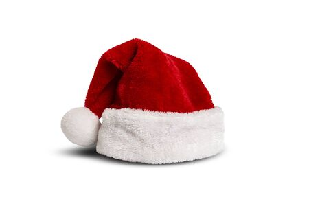 Santa Claus hat on a white isolated background. Front view. Christmas and New Year concept. Santa Claus costume.
