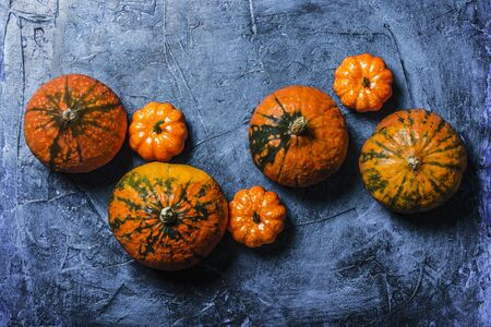 Pumpkins on a blue dark stone background. Concept autumn, halloween, harvest. Banner. Flat lay, top view. Banco de Imagens