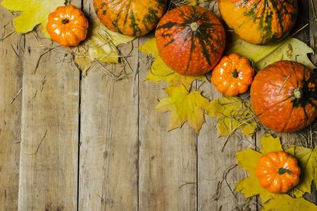 Ripe pumpkins, autumn leaves and straw on a wooden background. Harvest concept, autumn, halloween eve. Banner. Flat lay, top view. Banco de Imagens