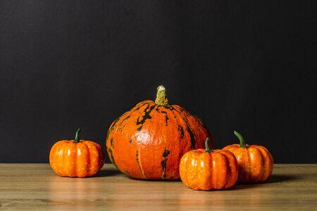 Pumpkins on a dark background. Concept autumn, halloween, harvest. Banner.