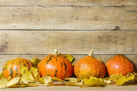 Pumpkins and autumn leaves on a wooden background. Halloween concept, harvest, halloween eve.