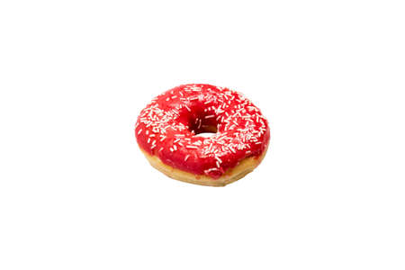 Donut with red icing on a white isolated background. Bakery, baking concept.