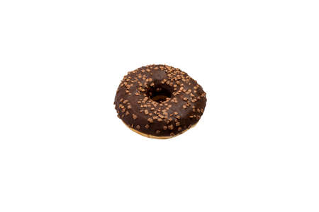 Donut with chocolate on a white isolated background. Bakery, baking concept. 免版税图像