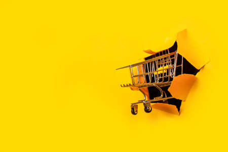 empty shopping trolley in a hole ripped yellow background. Shopping, online shopping, self-service.
