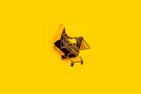 empty shopping cart punches yellow background. Shopping, online shopping, self-service.