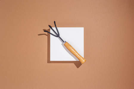 Garden tools lying on a white square podium on a brown background. Top view, flat lay.