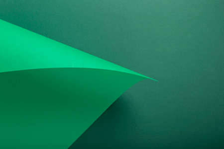 Design background curved background from green cardboard. Top view, flat lay. Фото со стока
