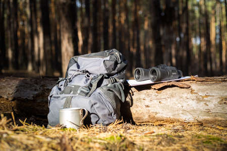 Tourist backpack, hat, binoculars and a map on a log in the forest. Concept hiking, hiking in the mountains. Фото со стока