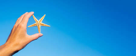 Female hand holds a starfish against the blue sky. Banner.