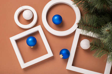 Christmas tree, geometric shapes, decorations, gifts. Banner. Flat lay, top view.