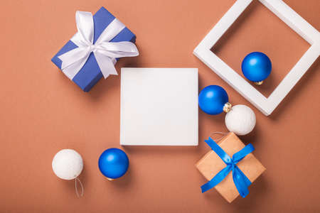 Abstract image of geometric shapes, Christmas tree decorations and gifts. Banner. Flat lay, top view. Фото со стока