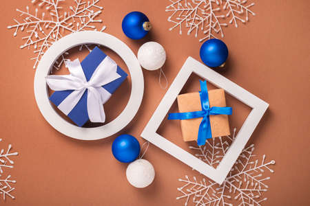 Abstract background of geometric shapes, Christmas tree decorations. Banner. Flat lay, top view. Фото со стока