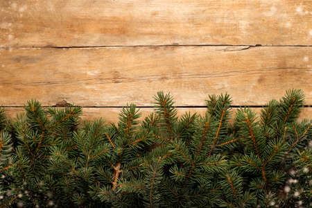 Wooden wall with Christmas tree branches and snow. Christmas concept. Banner. Copy space. Фото со стока
