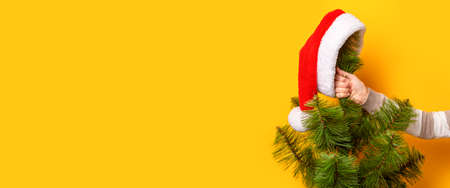 Hand holds Christmas tree with Santa Claus hat on yellow background. Concept for New Years and Christmas Eve. Banner.
